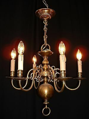 Antique bronze Dutch chandelier with 6 arms early 1900's