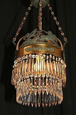 Vintage European Roman Empire style chandelier crystal copper & bronze