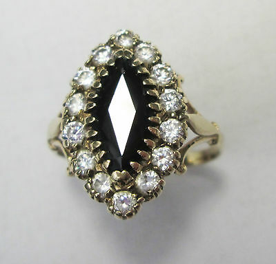 Vintage 9ct Gold Marquise Sapphire & Spinal Cluster Ring Hallmarked