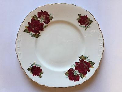 Royal Vale Bone China 23.5 cm x 22 cm Bread/Cake Plate with Red Rose Design