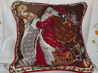 Vintage Wool cushion cover woolen needlepoint Christmas pillow Santa Claus
