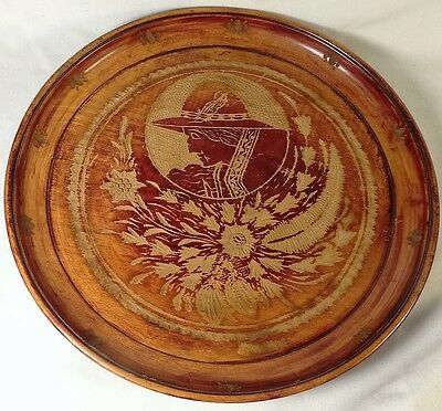 Antique Victorian Hand Carved Wood Plate Cherry Wood Krakow Poland Woman Flowers