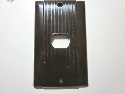 Vintage Brown Bakelite Uniline Despard 1 Single Switch Plate Cover Lined Deco