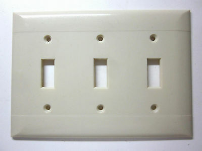 Vintage Sierra Bakelite smooth ivory 2 lines ribs 3 gang switch plate cover deco