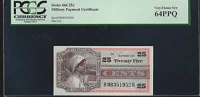 Series 661 Military Payment Certificate 25 Cents  PCGS 64 PPQ