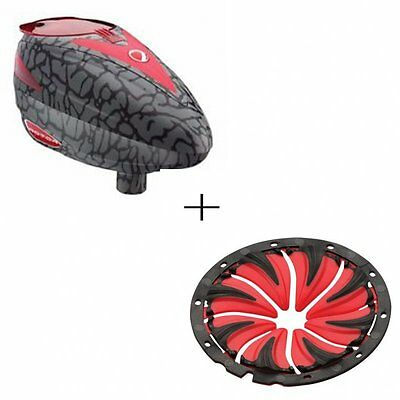 DYE Paintball Loader Rotor R1 Skinned Red + gratis Quick Feed Rot / PBS24