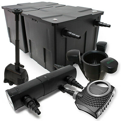 TTSet: Pond Filter 60000l Eco 80W Pump 24W UVC Clarifier Fountain Skimmer 439