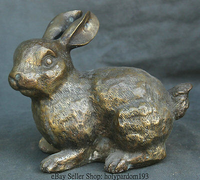 """8"""" Old Chinese Copper Feng Shui Zodiac Year Wild Rabbit Animal Lovely Sculpture"""