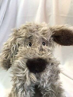 "RUSS FURLY Gray Furry Puppy Dog Plush Stuffed Animal 10"" tall"