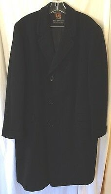 Kuppenheimer Black Men's Wool Overcoat size XL MacTavish  Vintage USA
