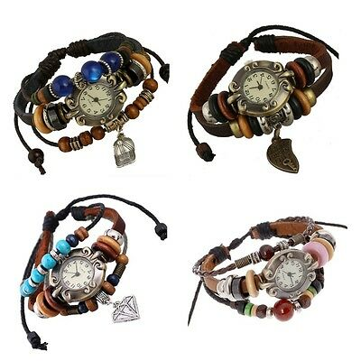 womens girls vintage retro leather wood beads bracelet watch with charms