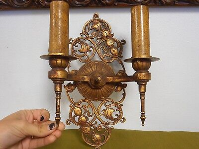 Antique Art Deco Cast Metal Double Light Fixture Enamel Socket Covers Unique