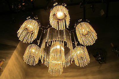 Antique French Tubes Glass & Crystal Chandelier Lamp 1940's Rare Width 25,5in