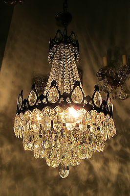 "Antique French Basket Style Crystal Chandelier Lamp 1940s 14""diameter ----------"