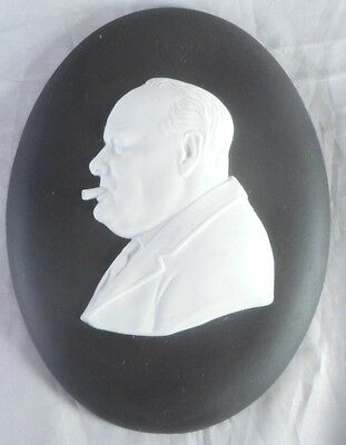 Wedgwood Black Jasper Medallion Winston Churchill England c1974