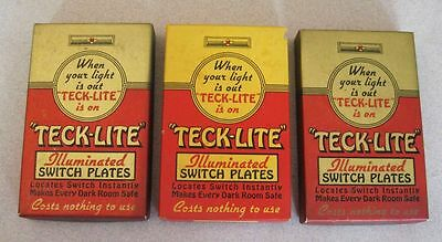(3) Vintage Mid Century TECK-LITE Night Light Brass Switch Plate Unused NOS Box