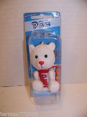 White Polar Bear Pez Dispenser Keychain With Red Nose