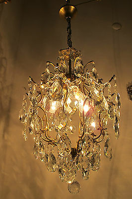 Antique Vnt French Cage Style Czech Crystal Chandelier Lamp Light 1950s Rare***