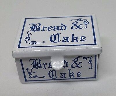 Dolls House Miniature 1:12th scale blue and white met bread bin