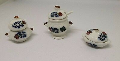 Dolls House Miniature 1:12th Scale ceramic set of 3 serving dishes