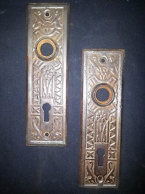 Eastlake Victorian Ornate Cast Iron Door Back Plates Set of Two
