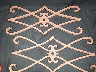 Architectural Salvage Wrought Iron Diamond & Scroll Shaped Plaques Set of Two