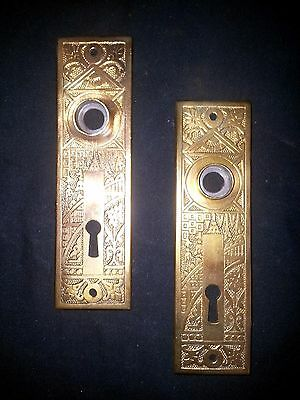 Architectural Salvage Ornate Victorian Solid Brass Door Back Plates Set of 2