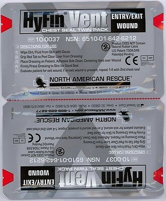 Hyfin Vent Chest Seal Twin Pack Exp 04/2021 NAR PN 10-0037 NEW