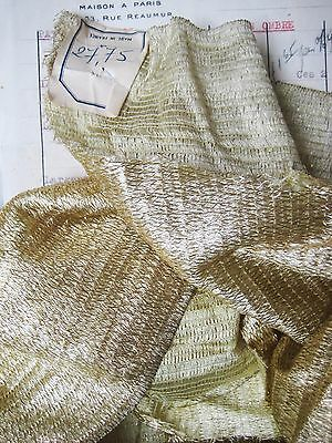 Piece Antique French Lame Fabric Light Gold Metallic Flapper