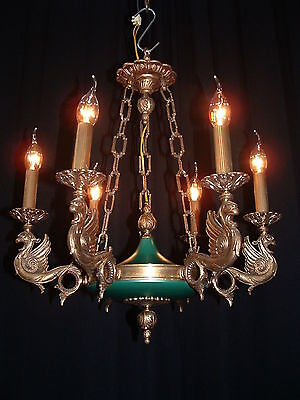Large French bronze Empire style Dragon chandelier with chain