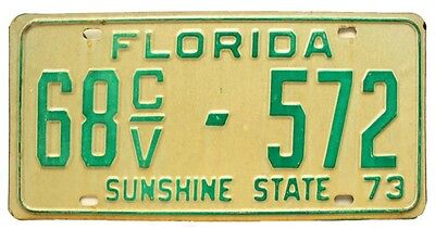 Vintage Florida 1973 Government Truck License Plate, 572, Low Number, DMV Clear