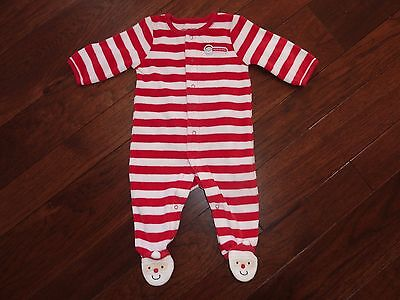 Carter's Unisex Red/white Santa 1St Christmas Pajamas/sleepers~Size 3 Months
