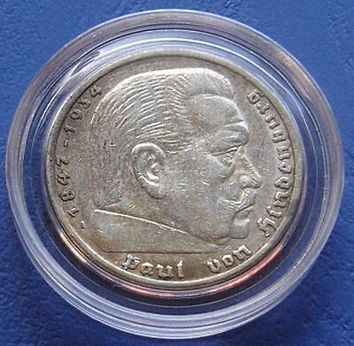 Third Reich 5 Mark 1936 A KM#86 Hindenburg Eagle 90% Silver Coin Germany WWII