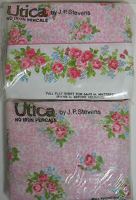UTICA J.P.Stevens ROSES & LILACS Full Flat & Fitted No Iron Percale Sheets MIP