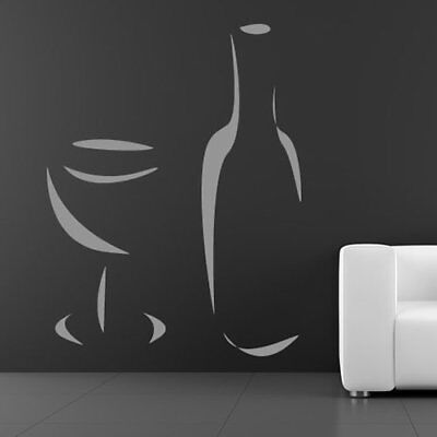 Wine Bottle And Glass Restaurant Food And Drink Wall Stickers Kitchen Art Decals