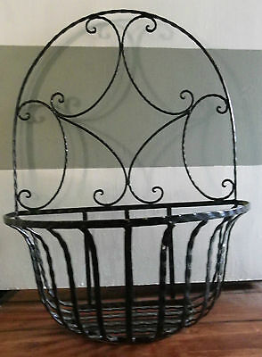 "2nd LaRGe BLaCK IRoN DeCoRaTiVe MeTaL WaLL PLaNTeR BASKET 24"" TaLL Gorgeous!"