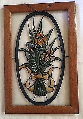 "Wooden Framed Stained Glass ""Iris"" Wall/Window Decor W/Chain Mount-18"" X 12""-EUC"