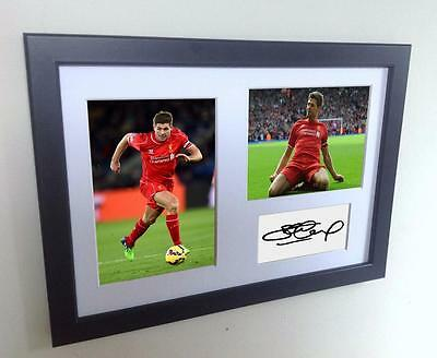 Signed Steven Gerrard Liverpool Autographed Photo Photograph Picture Frame A4