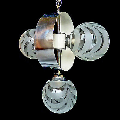 Vintage Mid-Century Italian Chrome Atomic Space Age Sputnik Orbit Chandelier