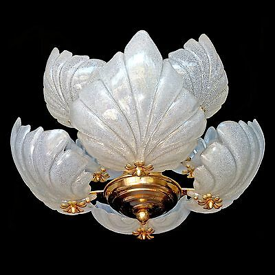 Awesome Vintage Art Deco Italian Murano 8 Seashell Molded Art-Glass Chandelier