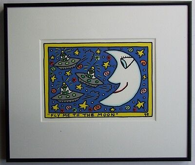 James Rizzi Fly me to the moon - Farblithografie 2-D Grafik gerahmt