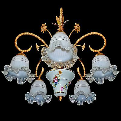 Vintage Italian Flower Bouquet Porcelain & Murano Art-Glass Shades Chandelier