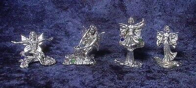 Four Pewter FAIRIES - with Colorful CRYSTALS