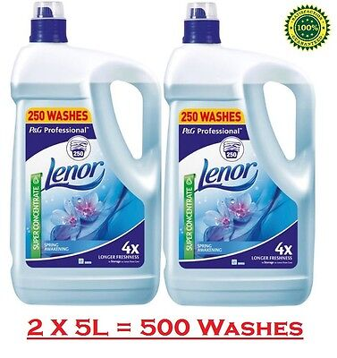 Lenor Spring Awakening Fabric Conditioner Concentrated Softener 2 X 5L, 500 Wash