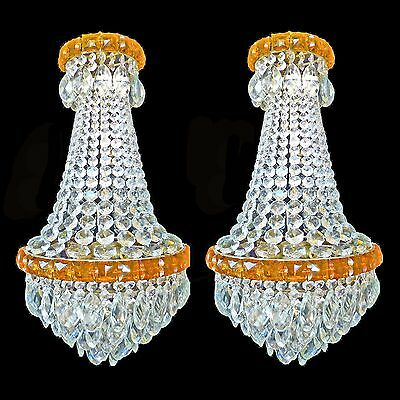 Antique Stunning Pair of French Empire Chandeliers/Huge Rock Crystal Clear/Amber