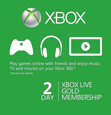 Instant Xbox Live 2 Day Gold Trial 48 Hours Membership Microsoft Xbox 360 One