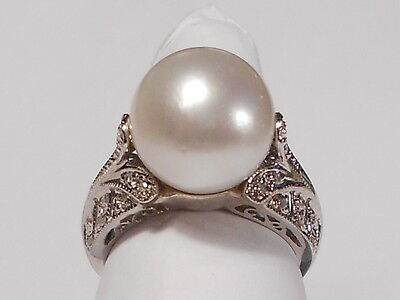 12mm South Sea white pearl ring, diamonds, solid 14k white gold.