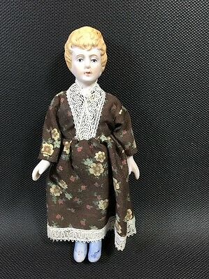 """6"""" All Bisque Jointed Doll Brown Dress  Blonde Hair 11V"""