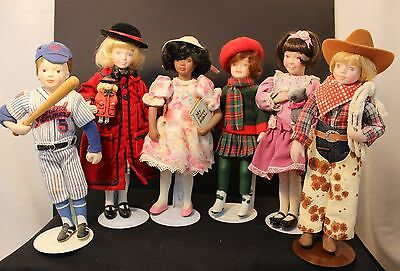 Avon Porcelain Doll - Childhood Dreams - Lot of 6 Dolls with Stands