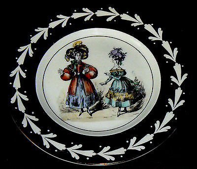 GRAY'S POTTERY: Uncommon 'Dickensian Ladies' Gold Lustre Collectors' Plate.